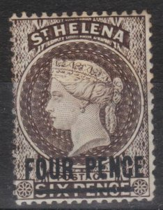 s0024) St. Helena. 1884/94. Unused SG 43 4d on 6d Pale brown Royalty  c£45