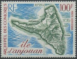 Comoro Islands 1972 #C49 MNH. Map
