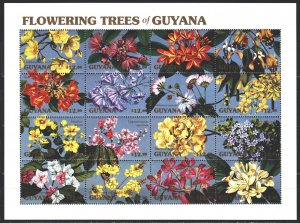 Guyana. 1990. Small sheet 3390-3405. Tree flowers. MNH.