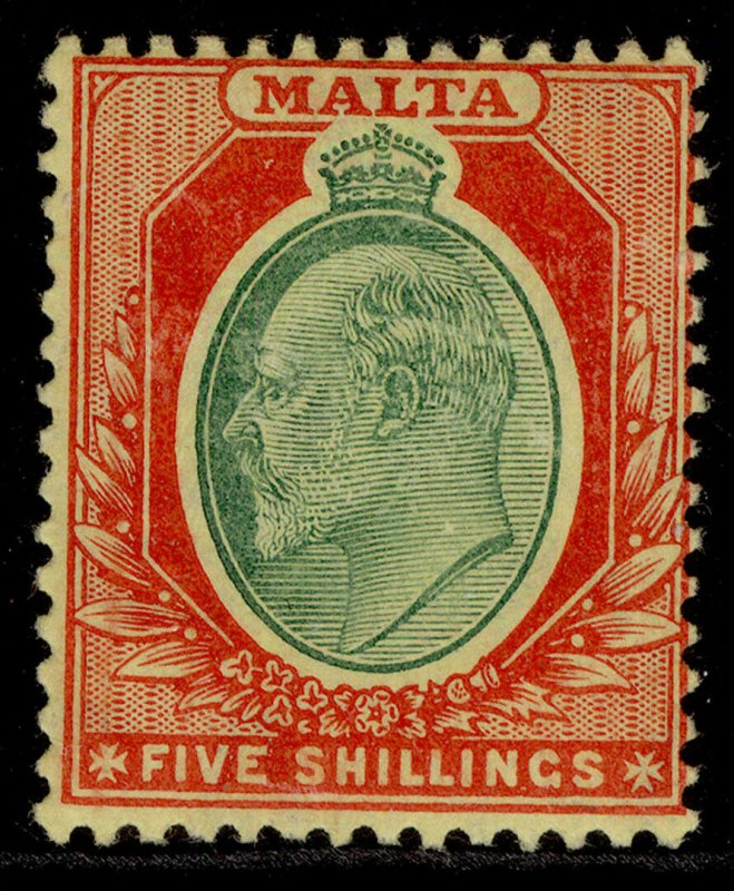 MALTA EDVII SG63, 5s green & red/yellow, LH MINT. Cat £65.