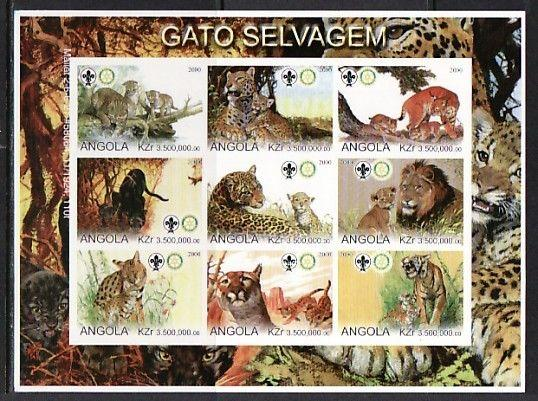 Angola, 2000 Cinderella issue. Wild Cats, Horizontal IMPERF sheet. Scout Logo.
