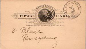 United States Ohio Alexandria 1891 serifed cds, target  Postal Card.