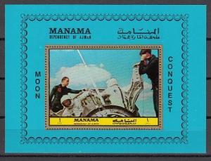 Manama, Mi cat. 1070, BL207 A. Apollo 11, Space s/sheet.