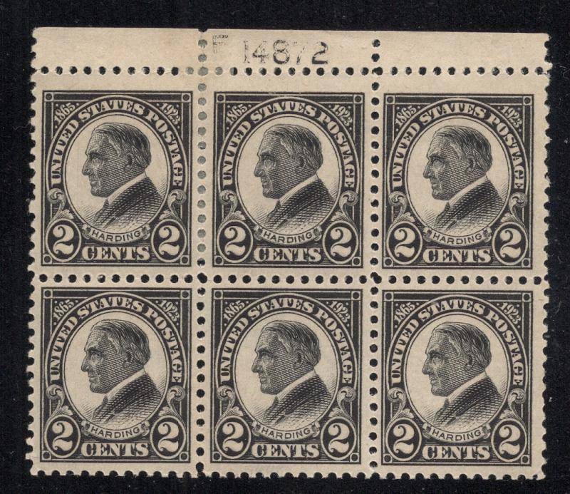 US#610 - Plate# Block of 6 - O.G.