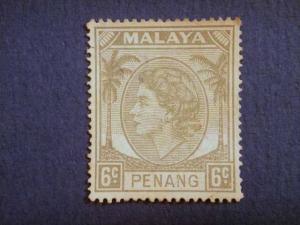 PENANG, 1954, used 6c. grey,  Queen Elizabeth II.