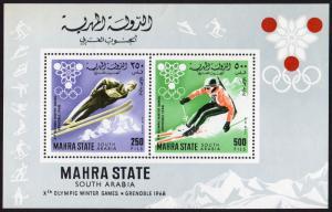 Aden Mahra State Mi Block 4A (#46-47)  mnh - 1967 Winter Olympics 1968 Grenoble