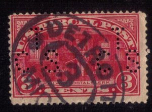 US SCOTT #Q3 USED,FANCY DETROIT CANCEL & PERFIN T.C.S. x2 F-VF