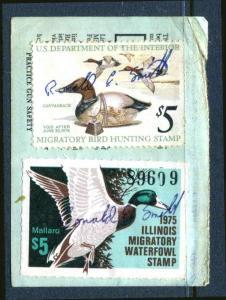 1975 ILLINOIS Sc IL-1 #1 $5 MALLARD DUCK  + Federal RW42 Combo On License