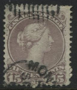 Canada 1868 Large Queen 15 cents red lilac used