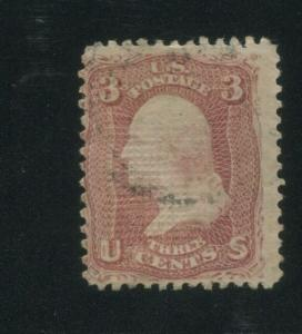 1867 United States Postage Stamp #85C Used F/VF Faint Postal Cancel Certified