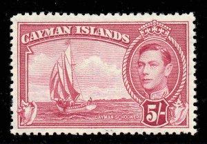 Cayman Islands 1938 KGVI 5/- carmine-lake SG 125 mint