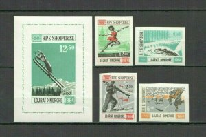 I1155 IMPERF ALBANIA OLYMPIC GAMES TOKYO 1964 #798-801+BL21 MICHEL 145 EURO MNH