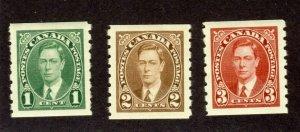 3x Canada George VI Mufti coils No. 238-239-240 MH VF Cat. Value = $24.00