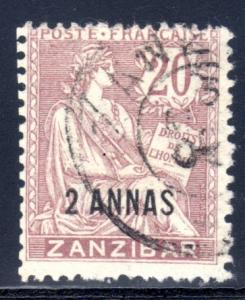 France Offices in Zanzibar #42, used CV $15.00