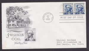 1304 George Washington coil pair Artmaster FDC with typewritten address