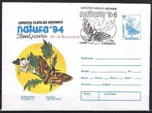 Romania, 1994 issue. 12/SEP/94. Moth Cancel on Moth Postal Envelope. ^