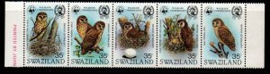 Swaziland Sc 405 1982 Fishing Owl WWF stamp strip mint NH