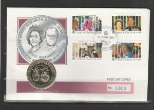Turk Caicos Coin cover 1991 65th Birthday QE2 wth One Crown coin, Fine