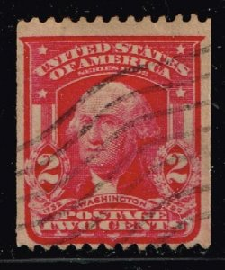 US STAMP #321 1908 2¢ Vertical Coil Washington, carmine USED COUNTERFEIT STAMP