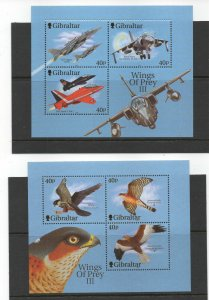 GIBRALTAR 2001 'WINGS OF PREY' 3RD SERIES..MINIATURE SHEETS SG MS988 UNMOUNTED