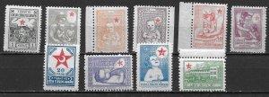 Turkey RA71-80 1943-44 Postal Tax set MNH (z1)