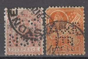 COLLECTION LOT OF #984 AUSTRALIAN STATES NEW SOUTH WALES # 113-4 1860 PERFIN