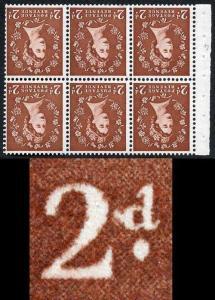 SB78ad 2d Light Red Brown Wmk Edward Inverted Booklet Pane inc Spot after 2