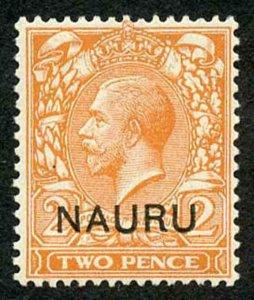 NAURU SG4b 1916-23 2d orange type 1 opt DOUBLE OPT ONE ALBINO M/M