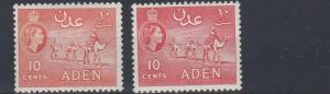 ADEN    1953 - 63    S G  50 + 51    2 X 10C VALUES     MH