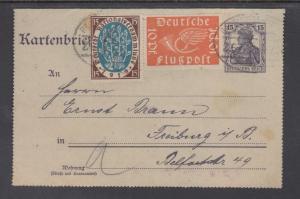 Germany Sc 106, C1 uprate 1920 Letter Card, Radolfzell-Lindau Bahnpost Cancels