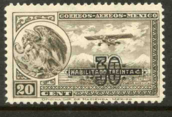 MEXICO C46, 30¢ ON 20¢ PERFORATED, SURCHARGED, UNUSED, VLH OG. VF