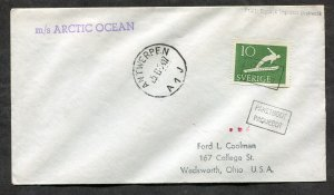 p60 - SWEDEN 1954 PAQUEBOT Cover to USA. Ship M/S ARCTIC OCEAN