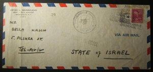 21-5-1948 1st PEDI airmail to TEL AVIV: #28 w/ both cancellation types & cachets