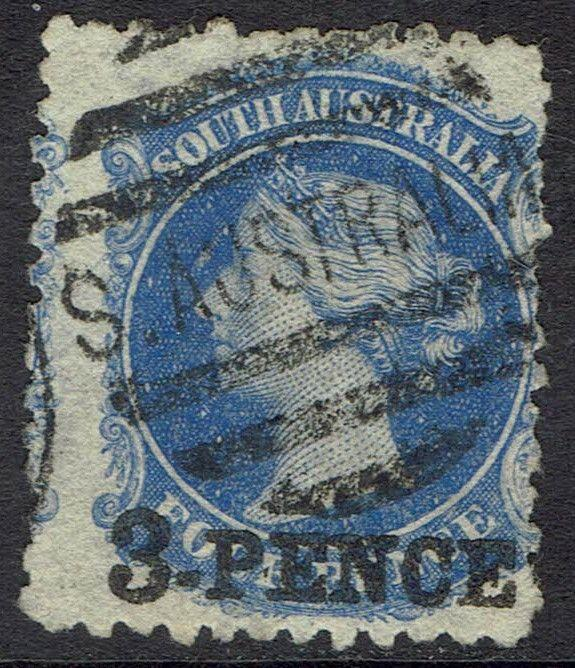 SOUTH AUSTRALIA 1876 QV 3 PENCE ON 4D WMK BROAD STAR PERF 11.5 - 12.5 USED