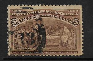 UNITED STATES, 234, USED, COLUMBUS SOLICITING AID FROM ISABELLA