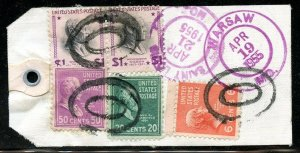 U.S. Scott 832 (2), 831, 825, 811 Prexies On Registered 1955 Missouri Bank Tag