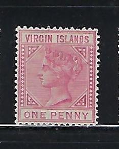 BRITISH VIRGIN IS. SCOTT #14 1883 1P (ROSE ) WMK 2 - MINT  LIGHT  HINGED