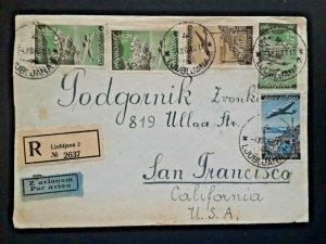 1947 Yugoslavia To San Francisco California Registered Airmail Cover