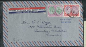 ST KITTS NEVIS COVER (P0807B) 1947  KGVI 6D +3D COLUBUS A/M COVER TO CANADA