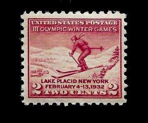 US 1932 Sc# 716 2 c Skier Olympic Games Mint NH - Vivid Color - Centered - GEM