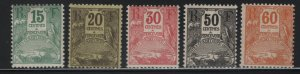 GUADELOUPE J17-J21 MINT HINGED, POSTAGE DUES 1905-6
