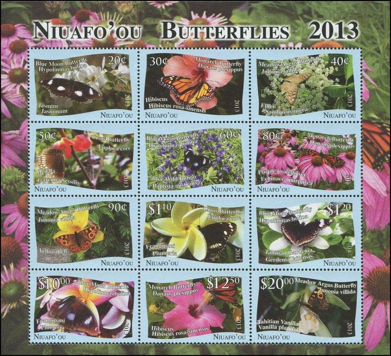 Tonga Niuafo'ou 2013 Sc 313 Butterflies Monarch Blue Moon Meadow Argus CV $54