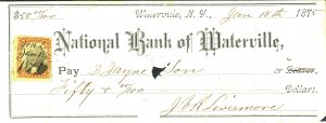 U.S. #NATIONAL BANK OF WATERVILLE NY CHECK USED