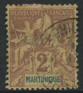 Martinique -Scott 34 - Navigation - 1892 - FU- 2c Stamp