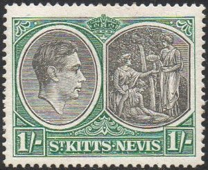 St Kitts-Nevis 1943 1/- black and green (P14) MH