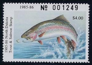 North Dakota 1985 - 86 Trout & Salmon Stamp  # NDTS-2