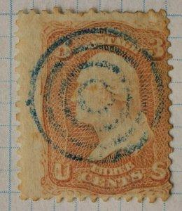 US sc# 65 3c Washington used Pink rose Blue ink Bullseye fancy cancel