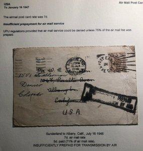 1946 Sunderland England Postcard Cover To Denver Co USA Insufficient Prepaid