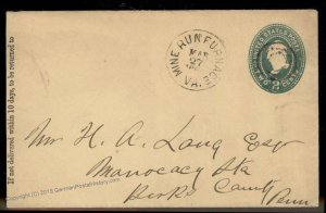 Virginia 1880s Mine Run Furnace VA DPO Cancel Helbock R6 Cover 92410