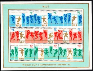 Niue 1981 MH Sc #B51 Sheet of 3 strips Surcharged World Cup of Soccer 82 creased